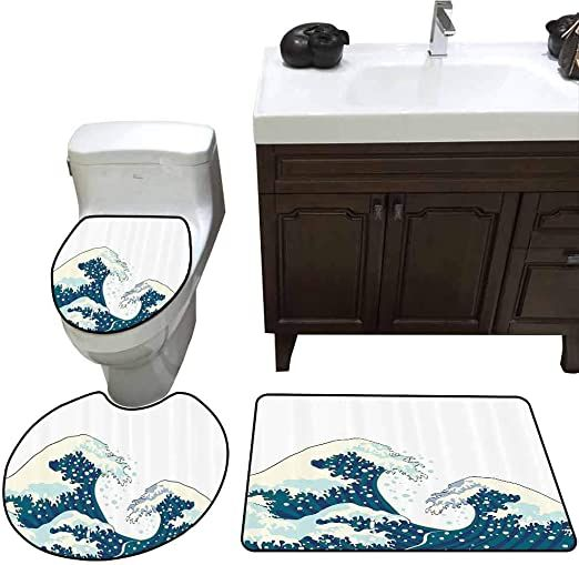 Home1love 3 Piece Toilet Lid Cover Mat Set Navy And White The Great Waves Of Kanagawa Japanese Illustration O In 2020 Ocean Design Japanese Illustration Navy And White