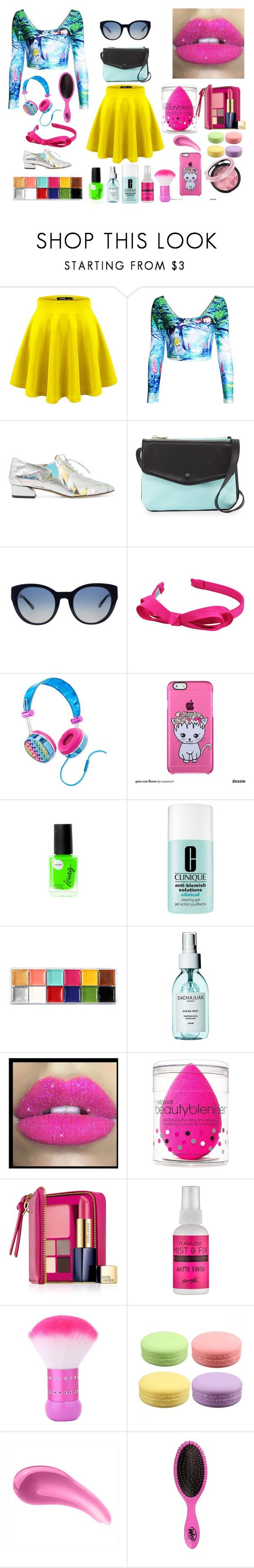 """""""#color"""" by adan2001 ❤ liked on Polyvore featuring Charlotte Olympia, Neiman Marcus, Tory Burch, L. Erickson, Lisa Frank, Clinique, Sachajuan, Glitter Pink, beautyblender and Estée Lauder"""