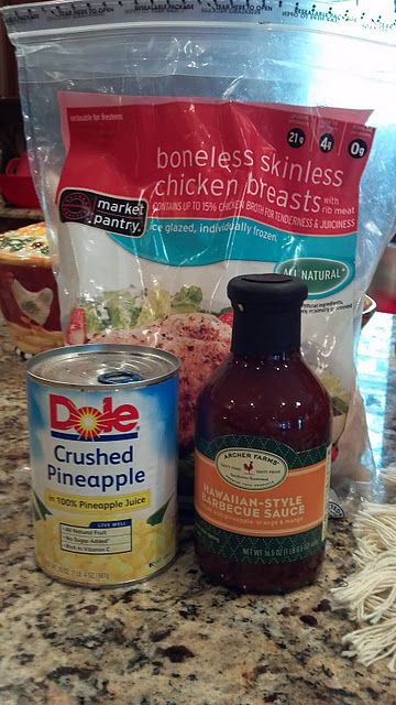 Hawaiian Crockpot Chicken:    4-6 frozen boneless, skinless chicken breasts  1 bottle Archer Farms Hawaiian Style Barbecue Sauce (found at Target)  1 can of pineapple (crushed or diced...whatever you like)
