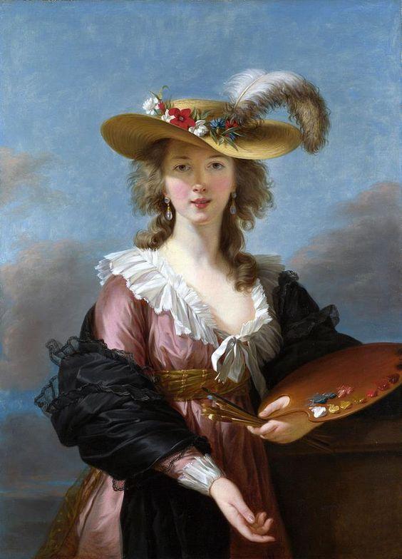 """""""Autoritratto (Elisabeth) con tavolozza e cappello di paglia """" di Elisabeth Vigée Lebrun 1782."""