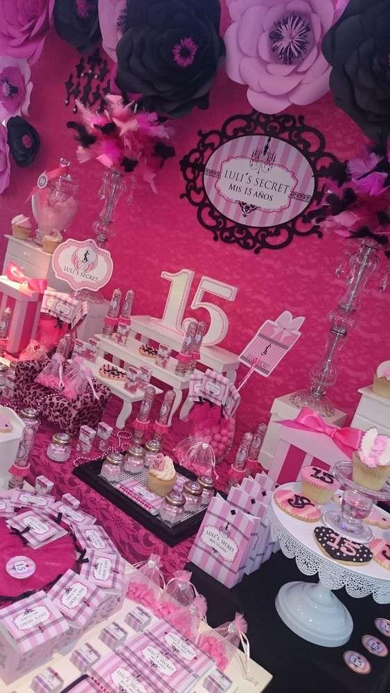 Victoria Secret S Birthday Party Ideas Photo 3 Of 11 15th Birthday Party Ideas Pink Birthday Party Girls Birthday Party Decorations