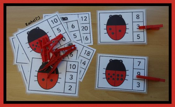 """Ladybird peg game (FREE printable) (and others, too) from Rachel ("""",)"""