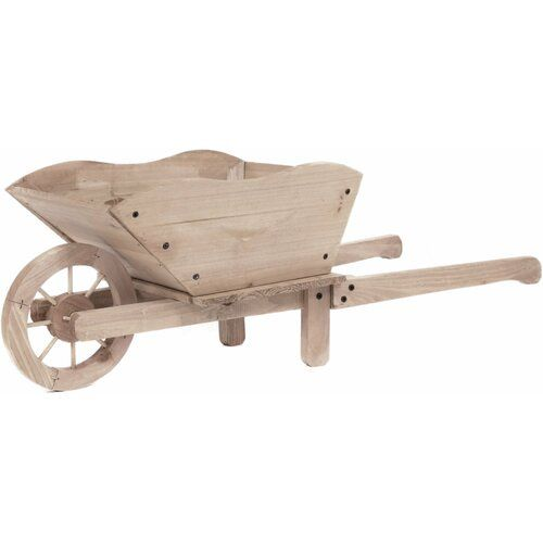 August Grove Pickens Wood Wheelbarrow Planter In 2020 Wheelbarrow Wooden Wheelbarrow