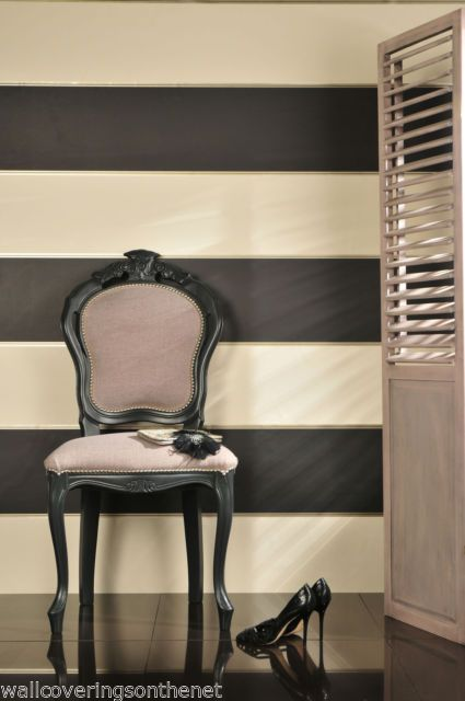 Cream black gold silver striped wallpaper ebay for Black and cream wallpaper
