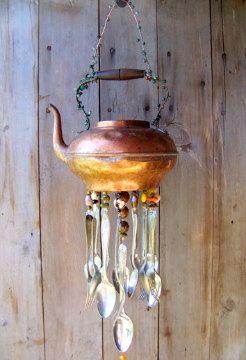Copper Tea Pot WIndchime by malindadickens on Etsy, $62.00