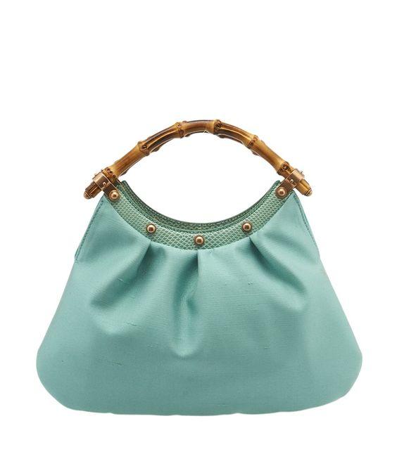 Gucci Blue Satin & Lizard Evening Bamboo Bag