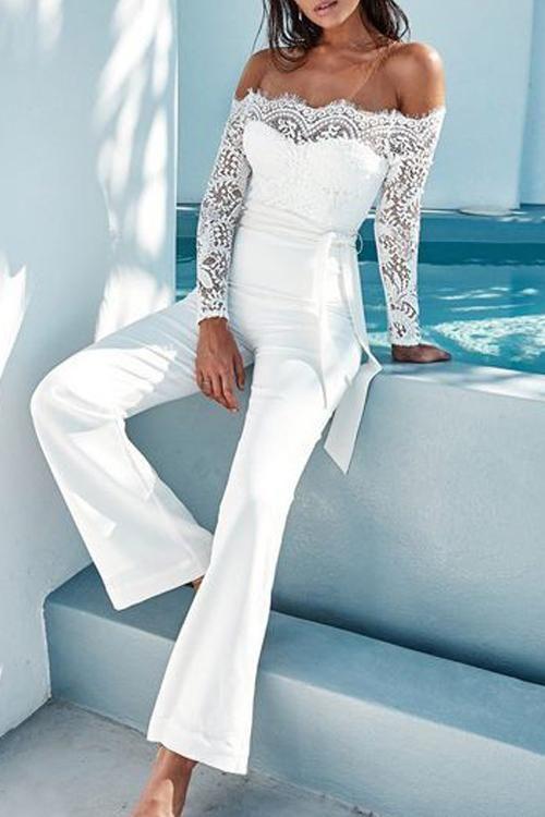 YONGM Womens Long Sleeve Zipper Patchwork One Piece Party Jumpsuit