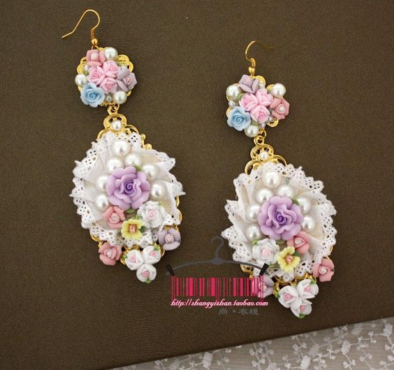 2013 the new arrive handmade lace rose flower Pottery pink round earring runway Classic vintage lady designer earrings women US $20.00