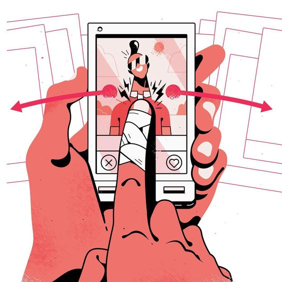 I did a series of spot illustrations about online dating for this month's @fortunemag Here's one!