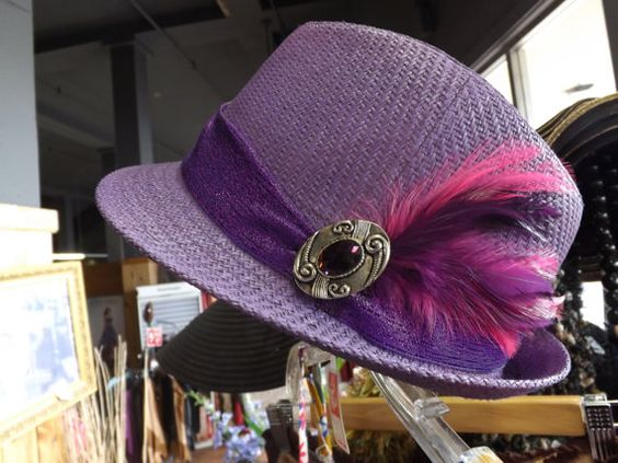 The Derby hat Shades of purple with pink feathers by hatsbysummer, $37.99