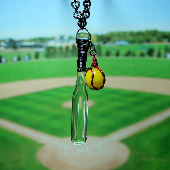 softball+necklaces | Softball and bat necklace, sports jewelry, Hand blown glass softball ...