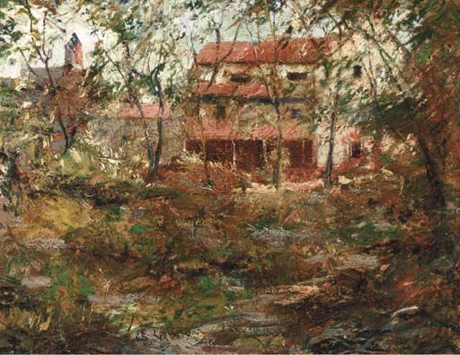 """Red House, Sound Beach,"" Ernest Lawson, oil on board laid down on panel, 8 x 10"", private collection."