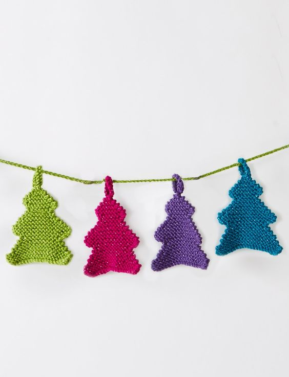 Yarnspirations.com - Caron Happy Little Tree Garland - Patterns Yarnspirati...