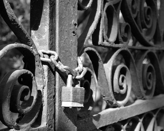 Lock and Chain  Matted Print Home Decor by FriedFishPhotography