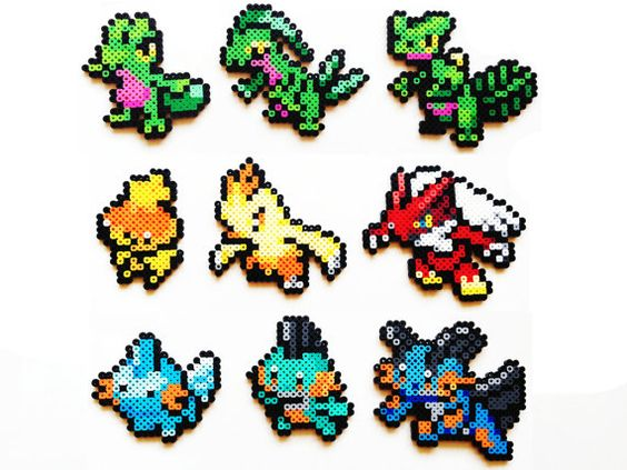 Pokemon Perler Generation 3 Starters Choose 1 by ShowMeYourBits