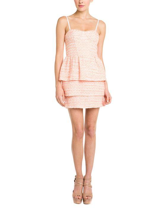 alice + olivia 'Shellyanne' Orange Tweed Tiered Dress