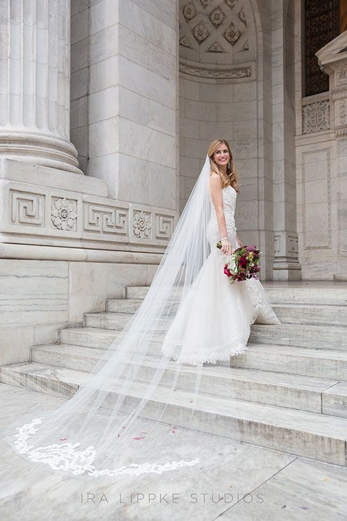 A romantic fall wedding at the new york public library for Long veils for wedding dresses
