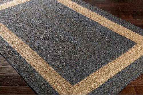 A Fabulous New Hand Woven Jute Area Rug Design The Brice Border Rug In Dark Blue And Natural Shades Will Compliment Any Beach Dark Blue Rug Jute Rug Area Rugs