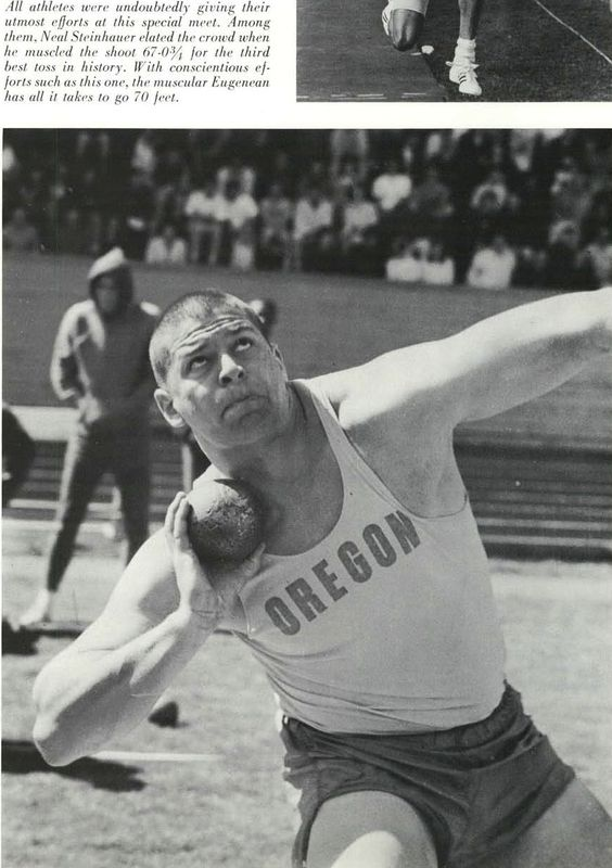 Oregon track athlete Neal Steinhauer throws a shot put 1966. From the 1966 Oregana (University of Oregon yearbook). www.CampusAttic.com