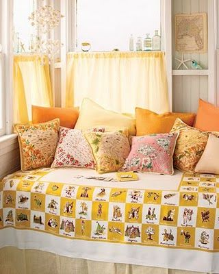 Vintage hankies into pillows.  Tablecloths into bedspreads.