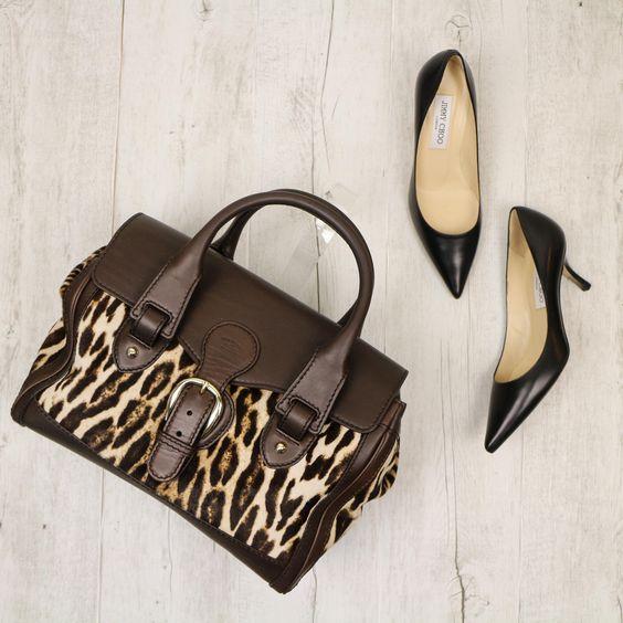 Gucci Medium Heritage Boston Leopard Print Pony Hair Handbag