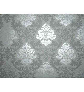 Papel pintado damasco vintage raido blanco y gris 40412 for Papel vinilo blanco