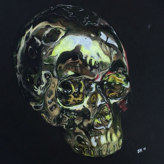 "'Golden Skull' colored pencil ""6x9"""