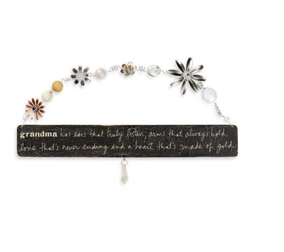 Wooden Grandma Large Plaque in Gold Chalkboard Style with Tassels Imported Sign