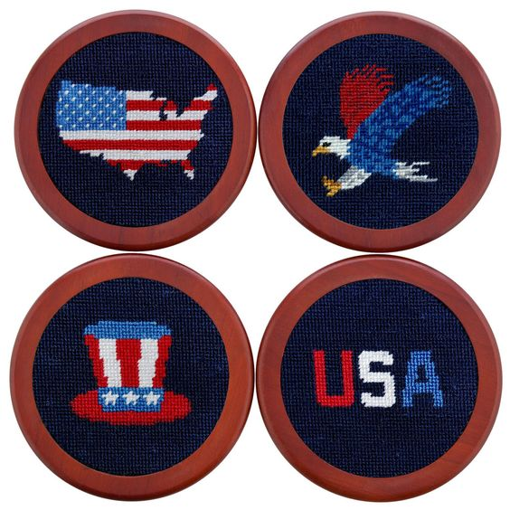 Americana Needlepoint Coasters in Navy by Smathers