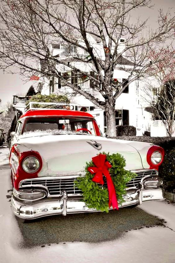 Ford wagon 1955 color splash Toni Kami Joyeux Noël Christmas photography Home for the holidays fineartamerica.com: