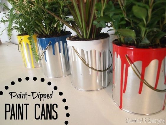 Mini Dipped Paint Can Planters Paint Can Planters Fun Planters Paint Cans