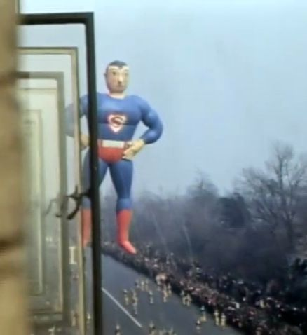 The original Superman balloon. Thanksgiving Day parade, Central Park West, NYC