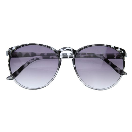 Womens Vintage Inspired Retro Round Key Hole Horn Rimmed Sunglasses