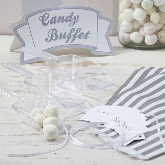 Candy-Bar Set in Silber mit viel Zubehör