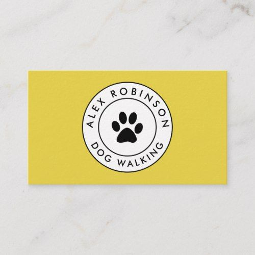 Yellow Paw Print Dog Logo Business Card Zazzle Com Paw Print Pet Logo Design Dog Logo