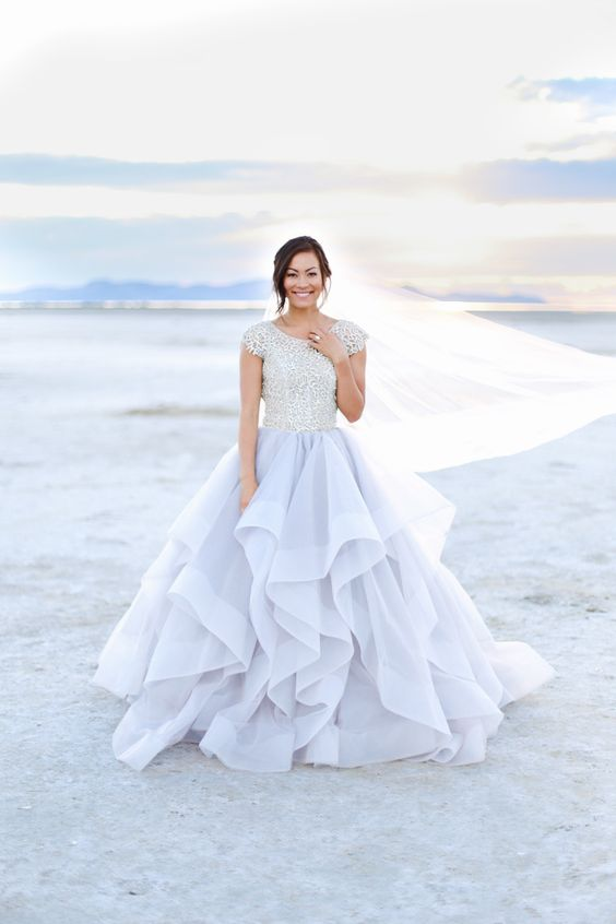 Modest wedding dress with beaded bodice and sleeves from for Modest wedding dress designers