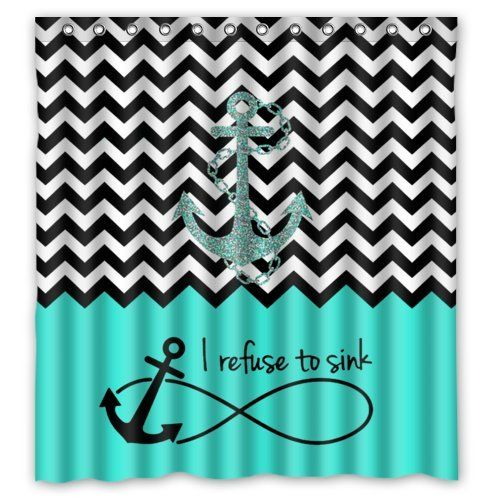 """66""""(Width) x 72""""(Height) Turquoise Block Chevron Zigzag Infinity Anchor Quotes I refuse to Sink Theme Design 100% Polyester Bathroom Shower Curtain Shower Rings Included -Best Visual Enjoyment For You Chevron Shower-curtain http://www.amazon.com/dp/B00OQ0L6JE/ref=cm_sw_r_pi_dp_J549ub1EQ3W14"""