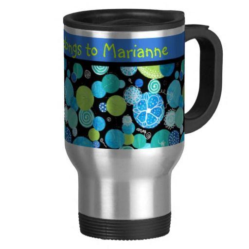 Custom Travel Mug, Quirky Blue Moons Pattern - up tpo £17.95 - http://www.zazzle.co.uk/custom_travel_mug_quirky_blue_moons_pattern-168889881323150807?rf=238041988035411422