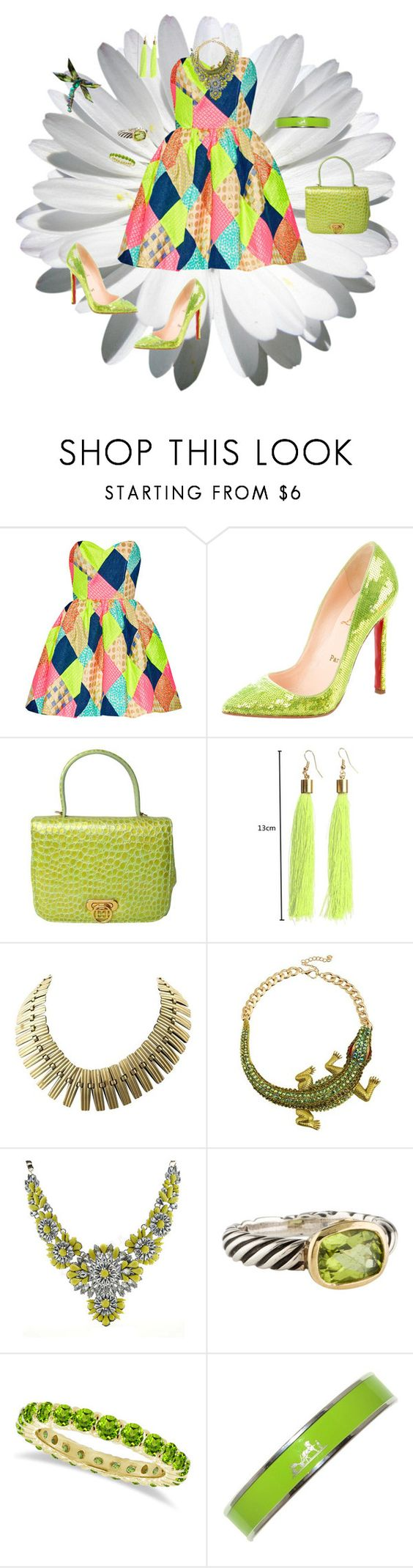 """Strapless Mini dress"" by deborah-518 ❤ liked on Polyvore featuring Christian Louboutin, ESCADA, David Yurman, Allurez and Hermès"