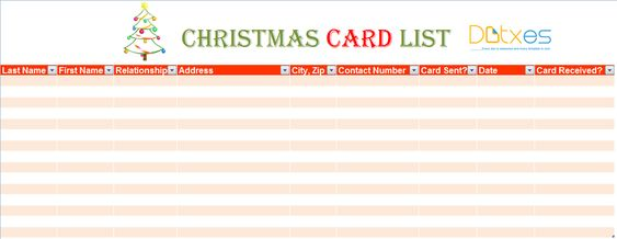 Christmas card list template in MS Excel List Templates - Dotxes - christmas card list template
