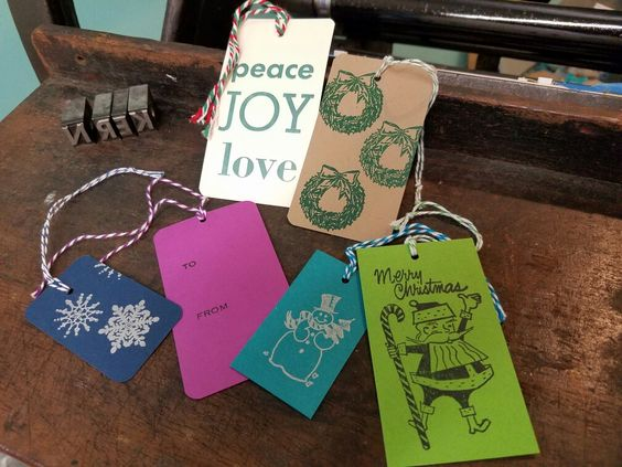 Letterpressed holiday gift tags by KERNgirl, studio 119 @ Western Ave Studios, Lowell MA