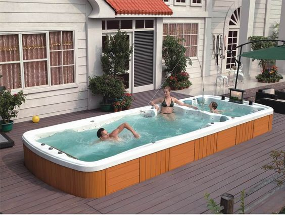 25 Stunningly Awesome Swim Spa Installation Ideas For Your Backyard These Days The Popularity Of Swim Spa Is So Craz Swim Spa Swim Spa Deck Jacuzzi Outdoor