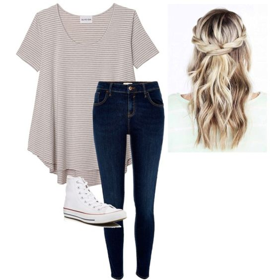 Cute!!!!!!!!!!!!!!!!!!! by hannah975 on Polyvore featuring polyvore, fashion, style, Olive + Oak, River Island, Converse and clothing
