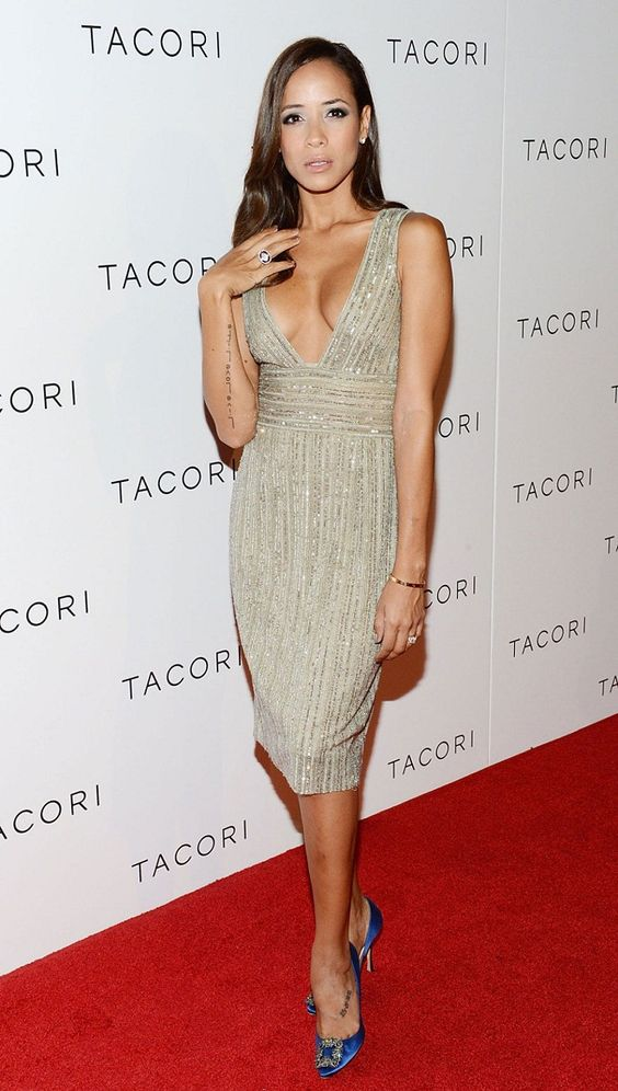 Dania Ramirez shows off a low cut embellished dress at the Tacori City Lights launch party in Hollywood.