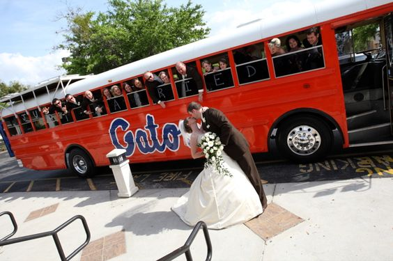 In honor of the start of football season, here is one of my favorite wedding party arrivals at the Timacuan Golf Club in Orlando, Florida photographed by Rhett Pyle Photography! The groom owned the bus and was a huge Gators fan! Awesome picture!!  #orlandoweddings #orlandoweddingdj #orlandodj #crystallakedj.com