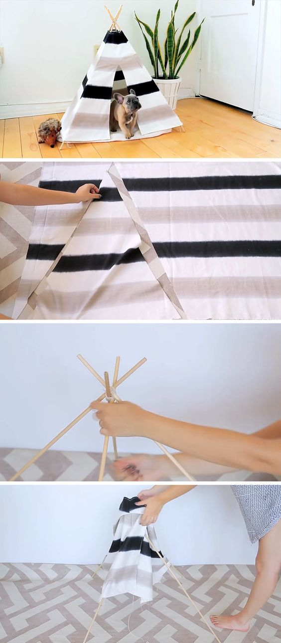 Create This Fun And Inexpensive Diy Dog Tent For Your Pup Dog Tent Dog Bed Modern Diy Cat Tent