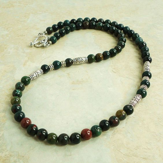 Bloodstone Mens Beaded Necklace Green Gemstone Men s Jewelry Necklace