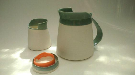 Pouring vessels in grey w orange; porcelain ceramics craft handmade