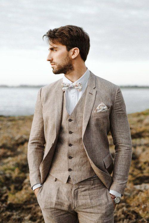 Brown Linen Wedding Suit Best Groom Suits Vintage Wedding Suits Summer Wedding Attire