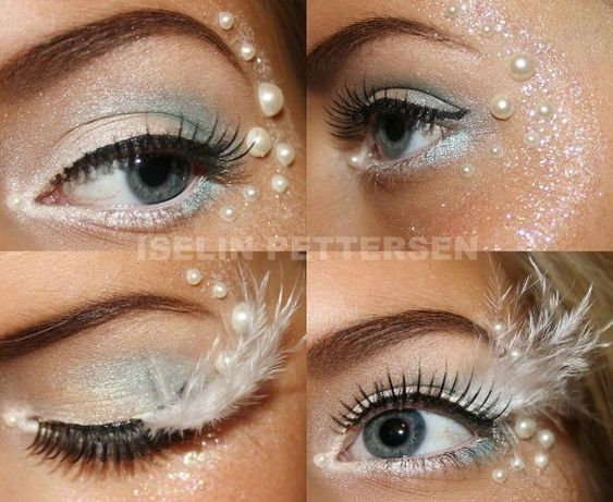The products I have used for this look: MAC Paint Pot Light blue and white eye shadows from 88 Palette BarryM highlight HM eyeliner - White Helena Rubinstein dipliner - 01 black Ardell Fashion Lashes - 116 black Duo vippelim beads, feathers and glitter from Panduro Make Up Store Mixing Liquid - to stick glitter